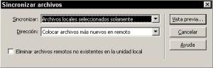 Cuadro de diálogo para la sincronización de archivos