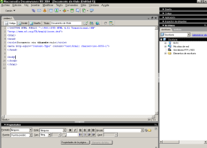 Interfaz predeterminada de Dreamweaver MX 2004