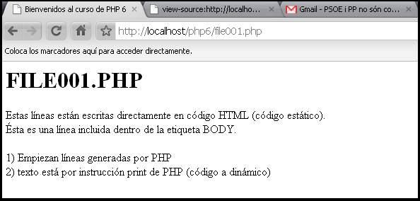 Ejecución de una página PHP