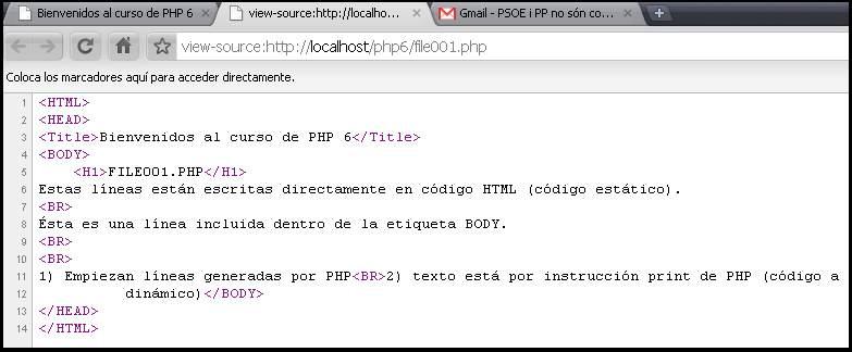 código php en una página HTML
