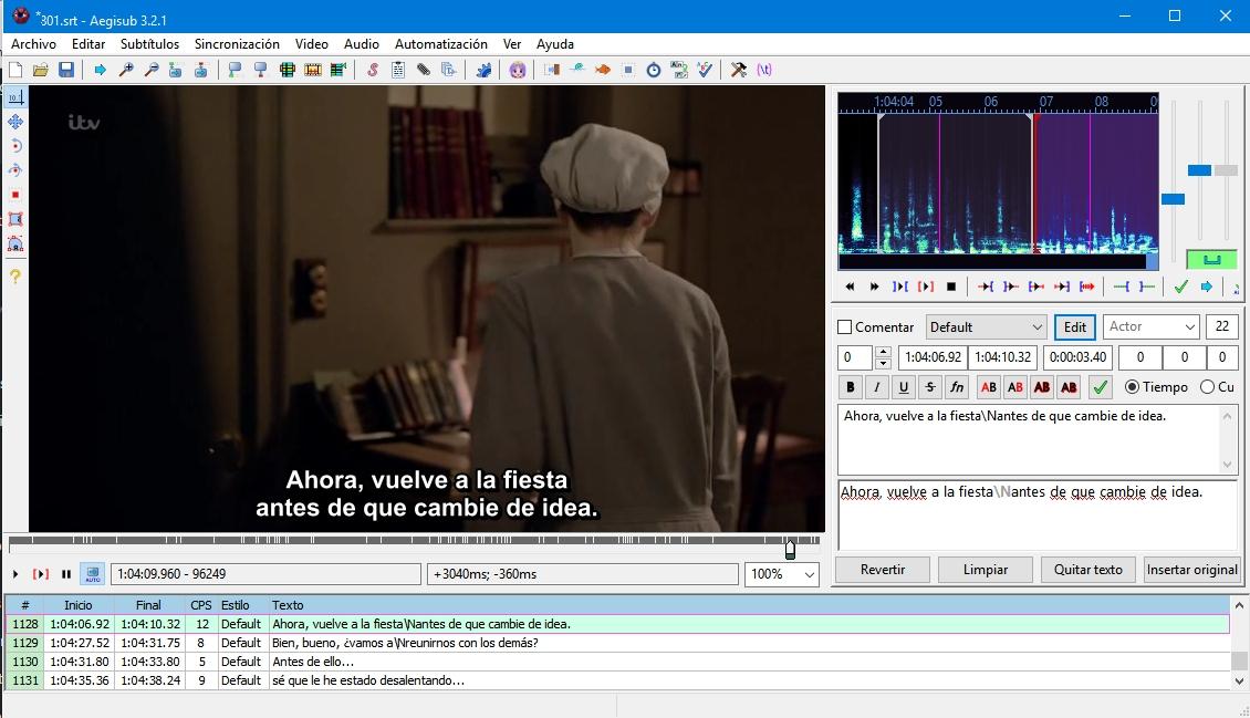 Interfaz de Aegisub